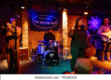 New York, NY - January 13, 2018: Ranky Tanky band perform at The Bitter End during 2018 New York Winter Jazz Festival