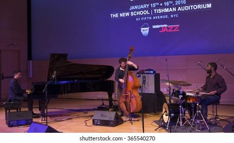 NEW YORK, NY - JANUARY 15, 2016: Vijay Iyer trio performs as part of New York City Winter Jazz Festival at the New School Tishman Auditorium sponsored by ECM