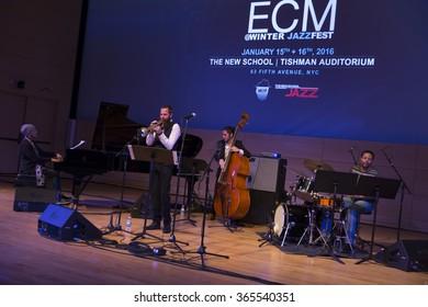 NEW YORK, NY - JANUARY 15, 2016: Avishai Cohen quartet performs as part of New York City Winter Jazz Festival at the New School Tishman Auditorium sponsored by ECM