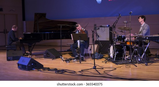 NEW YORK, NY - JANUARY 15, 2016: Ches Smith trio performs as part of New York City Winter Jazz Festival at the New School Tishman Auditorium sponsored by ECM