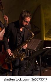 NEW YORK, NY - JANUARY 16, 2016: Emile Parisien quartet performs as part of New York City Winter Jazz Festival at DJango at Roxy Hotel