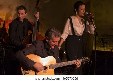 NEW YORK, NY - JANUARY 16, 2016: Vanina De Franco performs with Samy Daussat trio Tribute to Serge Gainsbourg as part of New York City Winter Jazz Festival at DJango at Roxy Hotel