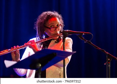 New York, NY - January 17, 2018: Nicole Mitchell artist-in-residence presents Maroon Cloud during 2018 New York Winter Jazz Festival at Le Poisson Rouge