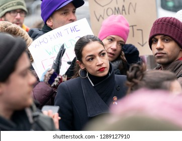 New York, NY - January 19, 2019: US Congresswoman Alexandria Ocasio-Cortez attends 3rd Annual Women's Rally and March on streets of Manhattan organized by Women's March Alliance