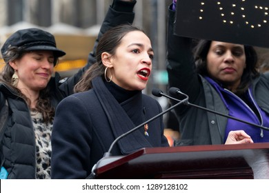New York, NY - January 19, 2019: US Congresswoman Alexandria Ocasio-Cortez speaks at 3rd Annual Women's Rally and March on streets of Manhattan organized by Women's March Alliance