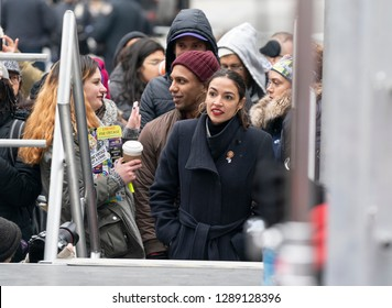 New York, NY - January 19, 2019: US Congresswoman Alexandria Ocasio-Cortez attends Women's Unity Rally at Foley Square as hundreds of people attend