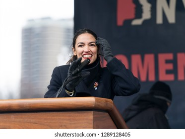 New York, NY - January 19, 2019: US Congresswoman Alexandria Ocasio-Cortez speaks during Women's Unity Rally at Foley Square as hundreds of people attend