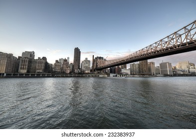 NEW YORK, NY - JANUARY 19, 2013: Queensboro Bridge from Roosevelt Island connecting Manhattan to Queens, New York City.