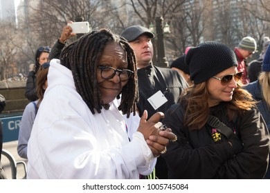 New York, NY - January 20, 2018: Whoopi Goldberg attends womens march in New York at Central Park West