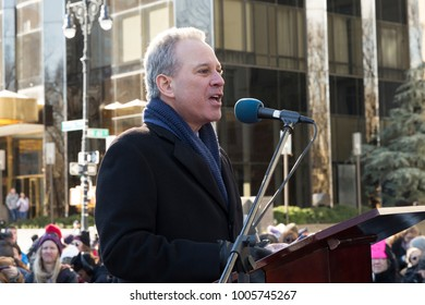 New York, NY - January 20, 2018: New York Attorney General Eric Schneiderman speaks at women march in New York at Central Park West