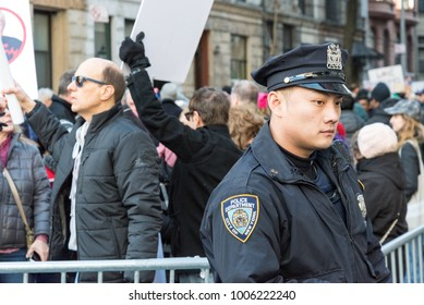 New York, NY January 20, 2018 Protestors attending The Women's March in NYC.
