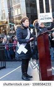 New York, NY - January 20, 2018: Ann Toback speaks at women's march in New York at Central Park West