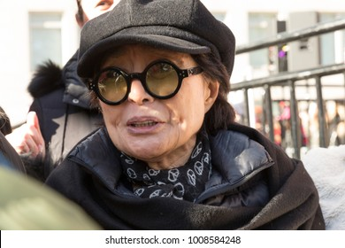 New York, NY - January 20, 2018: Yoko Ono attends women's march in New York at Central Park West