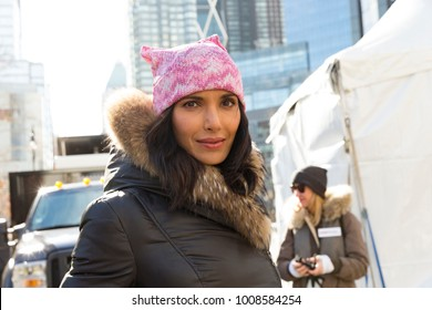 New York, NY - January 20, 2018: Padma Lakshmi attends women's march in New York at Central Park West