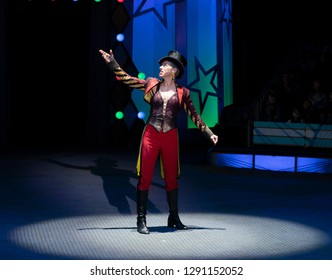 New York, NY - January 20, 2019: Stephanie Monseu ringmaster performs at Big Apply Circus for Derrick Barry Presents Britney's Circus: The 10th Anniversary at Lincoln Center Darmosch Park