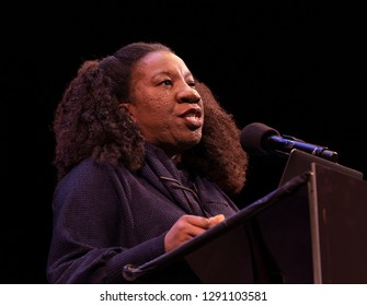New York, NY - January 21, 2019: Me Too founder Tarana Burke speaks during 33rd Brooklyn Tribute to Dr. Martin Luther King at BAM Howard Gilman Opera House