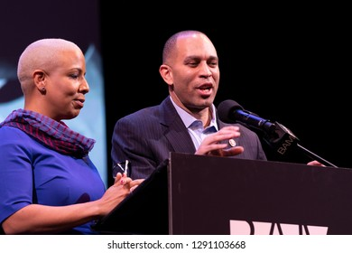 New York, NY - January 21, 2019: NYC Council Majority Leader Laurie Cumbo & US Congressman Hakeem Jeffries at 33rd Brooklyn Tribute to Dr. Martin Luther King at BAM Howard Gilman Opera House