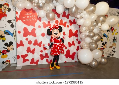 New York, NY - January 22, 2019: Minnie Mouse character attends Mickey: The True Original Exhibition during National Polka Dot Day on 60 10th Avenue