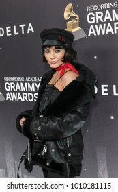 New York, NY - January 25, 2018: Vanessa Hudgens wearing dress by The Arrivals attends Delta Airlines hosts Grammy nominated artist Julia Michaels event at Bowery Hotel