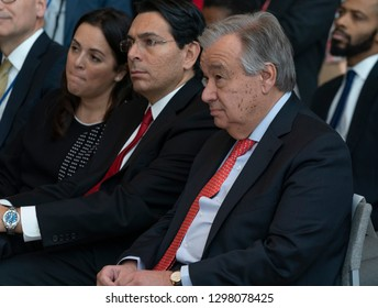 New York, NY - January 28, 2019: Danny Danon, Antonio Guterres attend opening of exhibit Beyond Duty: Righteous Diplomats among the Nations at United Nations  headquarters