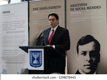 New York, NY - January 28, 2019: Ambassador Danny Danon speaks at opening of exhibit Beyond Duty: Righteous Diplomats among the Nations at United Nations  headquarters
