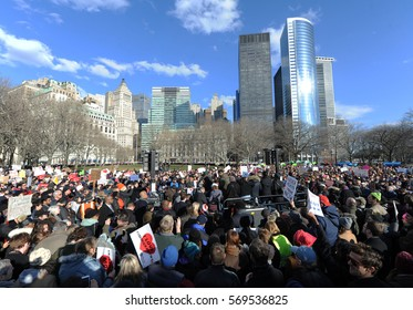 NEW YORK, NY - JANUARY 29 2017: A large crowd gathered in Battery Park in lower Manhattan, protesting President Trump's Immigration policies.