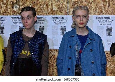 NEW YORK, NY - JANUARY 30: Models pose at Private Policy Presentation during NYFW: Mens on January 30, 2017 in New York City.