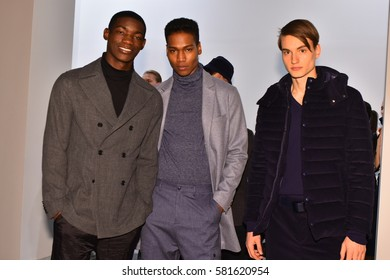 NEW YORK, NY - JANUARY 31: Models pose during the Zachary Prell Prestentation during NYFW: Mens at Skylight Clarkson North on January 31, 2017 in New York City.