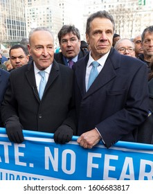 New York, NY - January 5, 2020: Chuck Schumer, Andrew Cuomo attend No Hate, No Fear Jewish Solidarity March in response to anti-semitic attacks in and around city across Brooklyn Bridge