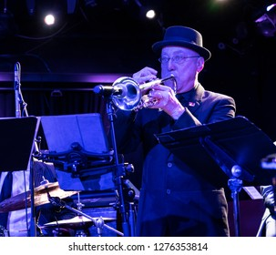 New York, NY - January 6, 2019: Brian Lynch on trumpet performs with drummer Ralph Peterson and The Messenger Legacy band during Winter JazzFest at Le Poisson Rouge
