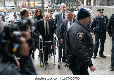 New York, NY - January 6, 2020: Former movie mogul Harvey Weinstein arrives in court on 1st day of trial accused of rape and sexual misconduct at State Criminal Court