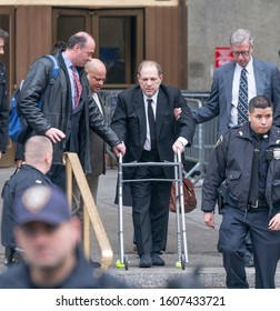 New York, NY - January 6, 2020: Former movie mogul Harvey Weinstein leaves court on 1st day of trial accused of rape and sexual misconduct at State Criminal Court