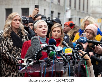 New York, NY - January 6, 2020: Actress Rose McGowan speaks during press conference on 1st day of Harvey Weinstein trial accused of rape and sexual misconduct at State Criminal Court