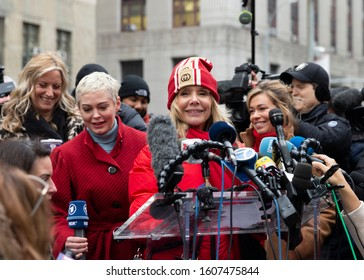 New York, NY - January 6, 2020: Actress Rosanna Arquette speaks during press conference on 1st day of Harvey Weinstein trial accused of rape and sexual misconduct at State Criminal Court