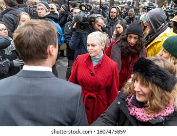 New York, NY - January 6, 2020: Rose McGowan leaves press conference on 1st day of Harvey Weinstein trial accused of rape and sexual misconduct at State Criminal Court