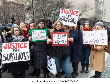 New York, NY - January 6, 2020: Protesters attend Harvey Weinstein 1st day of trial accused of rape and sexual misconduct at State Criminal Court