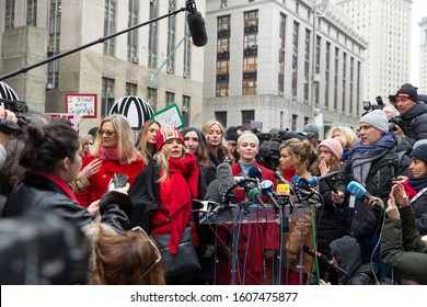 New York, NY - January 6, 2020: Rose McGowan (C) & other survivors attend press conference on 1st day of Harvey Weinstein trial accused of rape and sexual misconduct at State Criminal Court