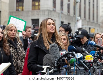 New York, NY - January 6, 2020: Dominique Huett speaks during press conference on 1st day of Harvey Weinstein trial accused of rape and sexual misconduct at State Criminal Court