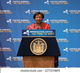 New York, NY - January 7, 2019: New York Senate Majority Leader Andrea Stewart-Cousins speaks at rally on reproductive health act at Barnard College