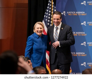 New York, NY - January 7, 2019: Former Secretary Hillary Clinton & Governor Andrew Cuomo on stage at rally on reproductive health act at Barnard College