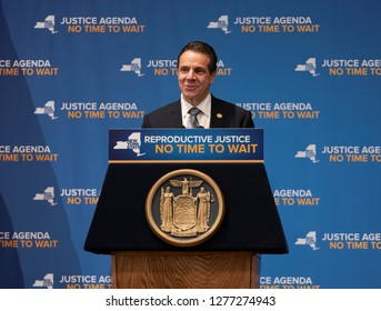 New York, NY - January 7, 2019: New York State Governor Andrew Cuomo speaks on stage at rally on reproductive health act at Barnard College