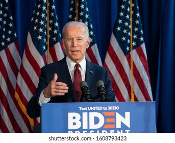 New York, NY - January 7, 2020: Former Vice President & Democratic hopeful Joe Biden made foreign policy statement at Current on Pier 59