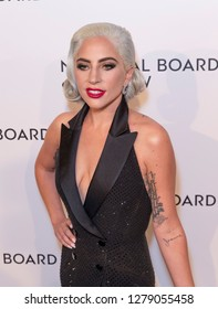 New York, NY - January 8, 2019: Lady Gaga wearing dress by Ralph Lauren Collective attends National Board of Review 2019 Gala at Cipriani 42nd street