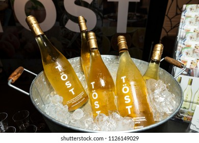 New York, NY - July 1, 2018: Bottles of Sparkling drink Tost by Tost Beverages on display during New York 2018 Summer Fancy Food Show at Jacob Javits Center
