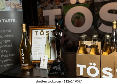 New York, NY - July 1, 2018: SOFI award winner Tost sparkling drink by Tost Beverages on display during New York 2018 Summer Fancy Food Show at Jacob Javits Center