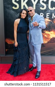 New York, NY - July 10, 2018: Simone Johnson and Dwayne Johnson attend the premiere of Skyscraper at AMC Loews Lincoln Center