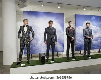 NEW YORK, NY - JULY 14, 2015: Models poses at Nick Graham presentation during the New York Fashion Week Men's S/S 2016 at Milk Studios