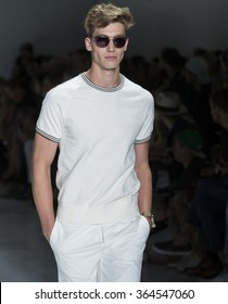 NEW YORK, NY - JULY 14, 2015: Jeff Ryan walks the runway during the Todd Snyder show at New York Fashion Week Men's S/S 2016 at Skylight Clarkson Sq
