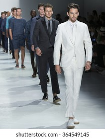 NEW YORK, NY - JULY 14, 2015: Jeremy Young walks the runway during the Todd Snyder show at New York Fashion Week Men's S/S 2016 at Skylight Clarkson Sq