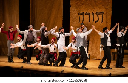 New York, NY - July 15, 2018: To Life scene during premiere of musical Fiddler on the Roof in Yiddish at Museum of Jewish Heritage